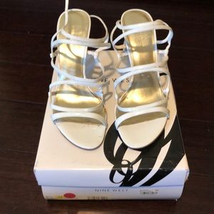 Nine West White Patent Leather Strappy Sandals